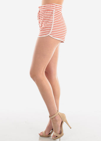 Women's Junior Ladies Casual Cute Must Have High Waisted Super Soft Orange Rust And White Stripe Shorty Summer Short Shorts