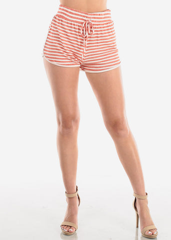 Image of Women's Junior Ladies Casual Cute Must Have High Waisted Super Soft Orange Rust And White Stripe Shorty Summer Short Shorts
