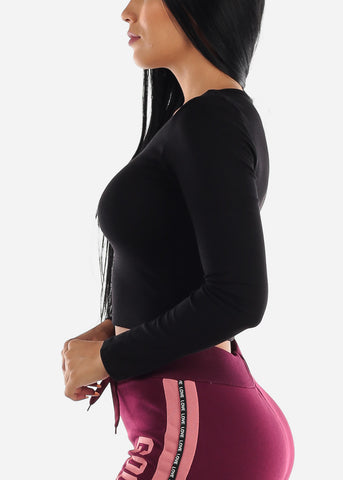 Black V-Neck Stretchy Crop Top