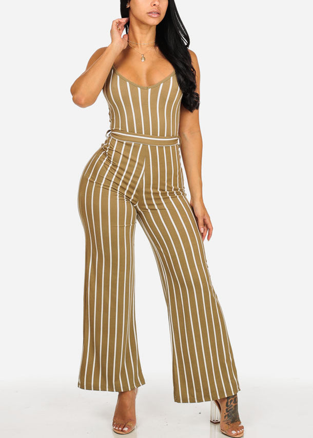 Olive Stripe Wide Leg Jumpsuit