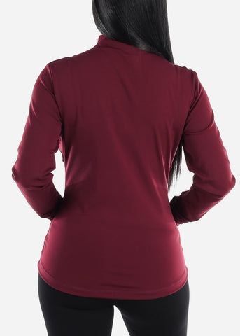 Image of Activewear Burgundy Zip Up Jacket