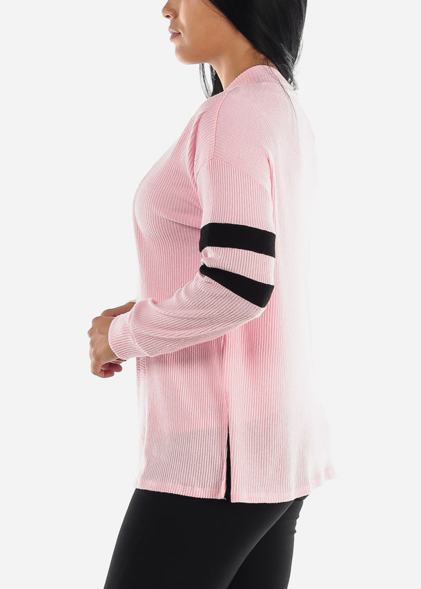 Long Sleeve Open Front Pink Cardigan