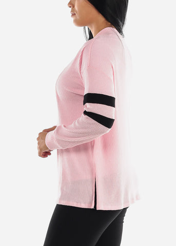 Image of Long Sleeve Open Front Pink Cardigan