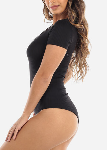 Image of Black V-Neck Bodysuit