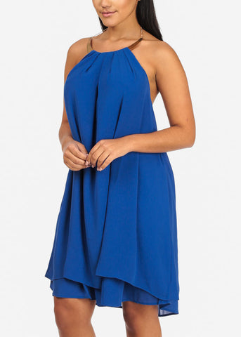 Image of Sexy Halter Gold Necklace Royal Blue Chiffon Dress