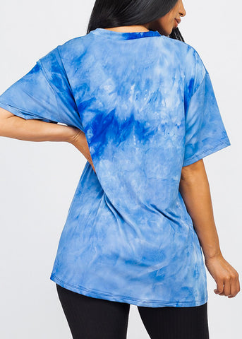 Blue Tie Dye Oversized Top