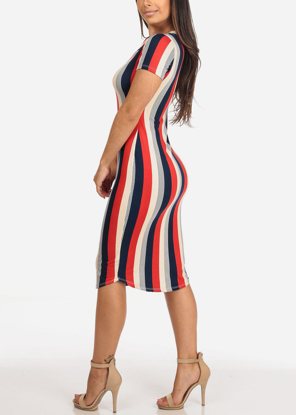 Stripe Red Bodycon Dress