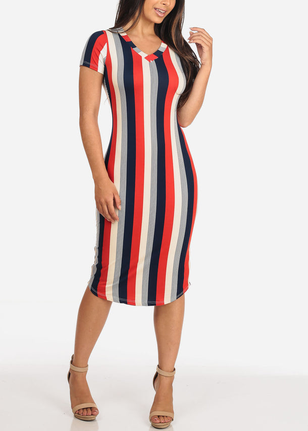 Women's Junior Ladies Sexy Must Have Fashionable Beach Vacation Casual V Neckline Stripe Bodycon Midi Dress