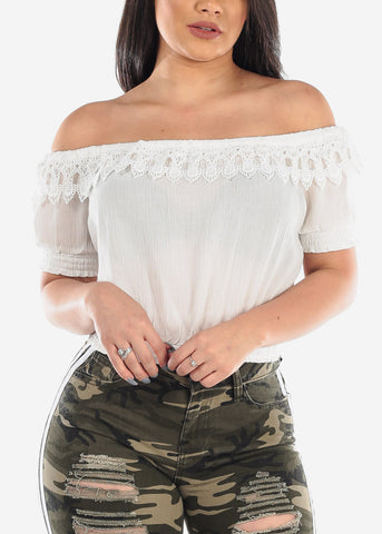 Lightweight Off Shoulder Short Sleeve Crochet White Crop Top For Women Ladies Junior Summer Vacation