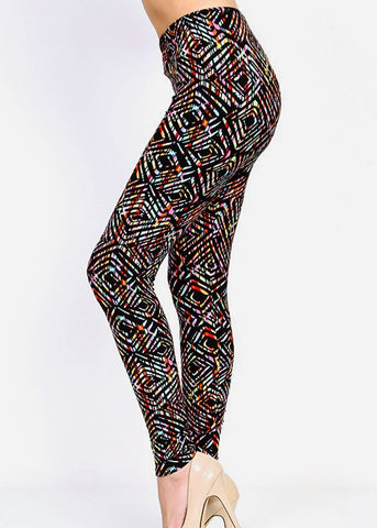 Black Multicolor Printed Leggings