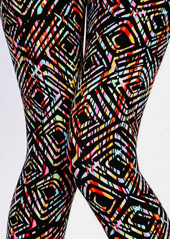 Image of Black Multicolor Printed Leggings