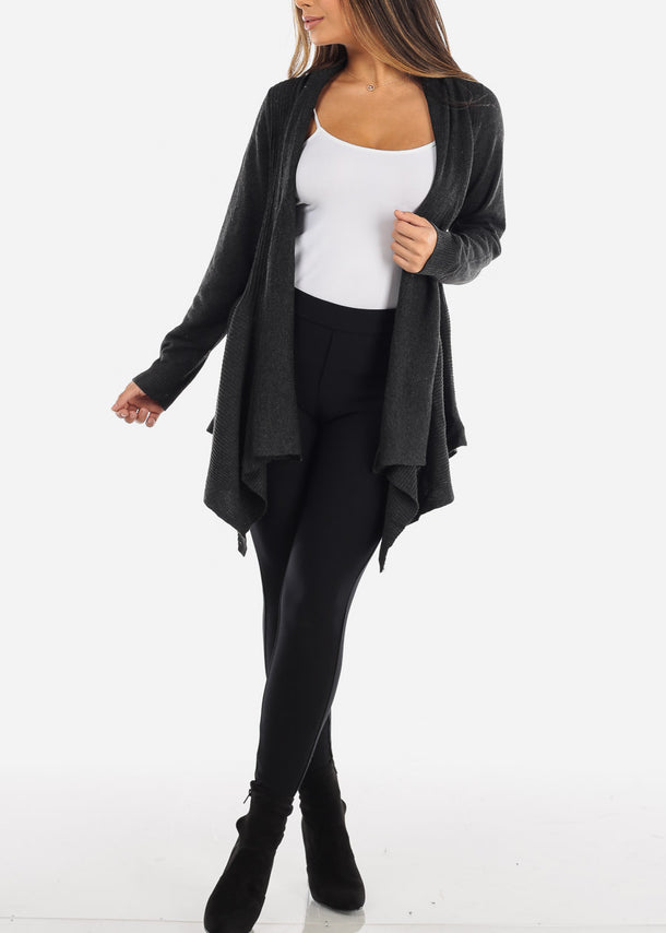 Asymmetric Long Sleeve Charcoal Grey Cardigan