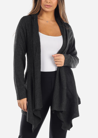 Image of Asymmetric Charcoal Grey Cardigan
