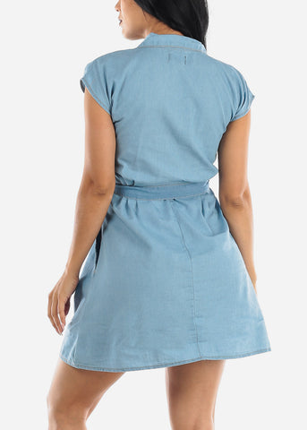 Image of Light Wash Casual Denim Dress