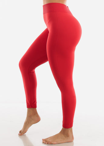 Activewear High Waist Red Leggings