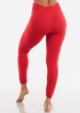 Full Length High Waist Red Leggings
