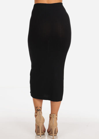 Women's Junior Ladies Sexy Casual Stretchy Ribbed Snap Closure Black Midi Skirt