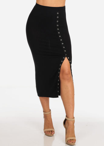Image of Women's Junior Ladies Sexy Casual Stretchy Ribbed Snap Closure Black Midi Skirt