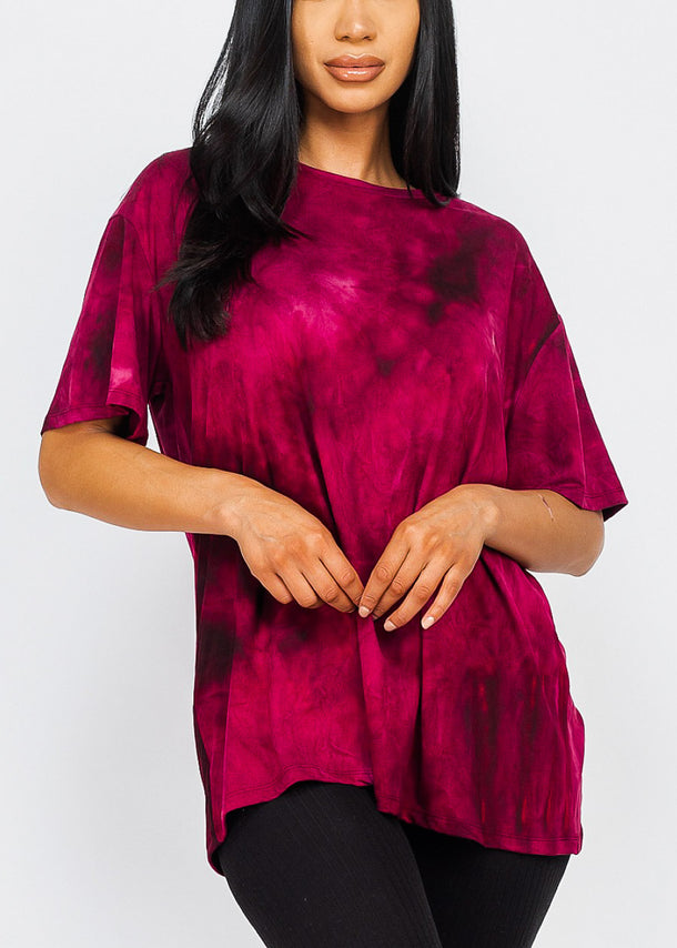 Burgundy Tie Dye Oversized Top