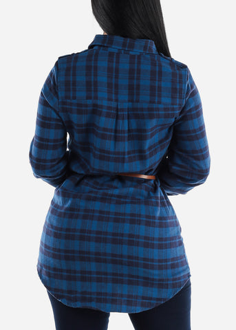 Royal Plaid Tunic Top