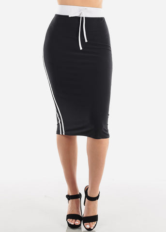 Image of Women's Junior Ladies Cute Casual Going Out Stylish High Waisted Side Stripe White And Black Midi Skirt