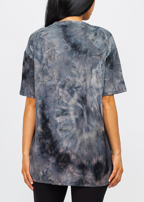 Black Tie Dye Oversized Top