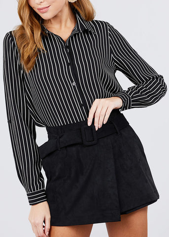 Button Down Black Stripe Shirt