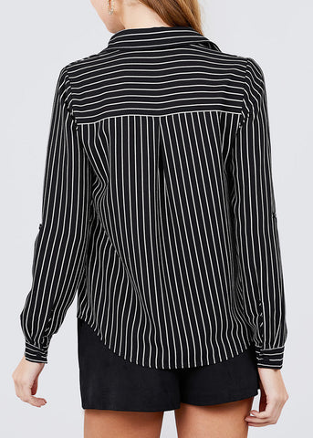 Image of Button Down Black Stripe Shirt
