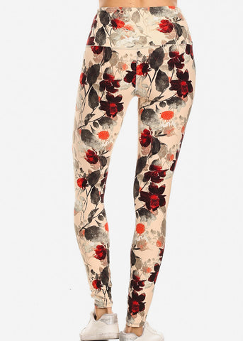 Image of Activewear Floral Cream Leggings
