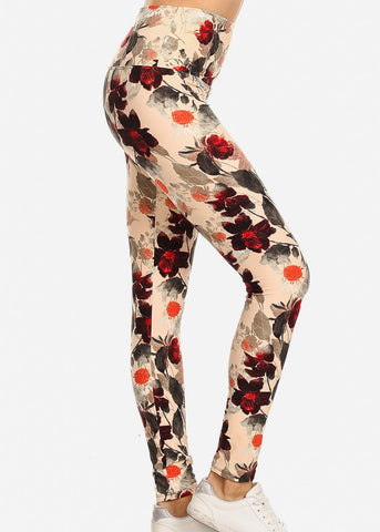 Activewear Floral Cream Leggings