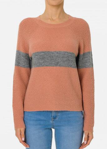Mauve Long Sleeve Colorblock Sweater