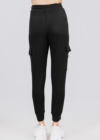 Image of High Waisted Black Cargo Jogger Pants