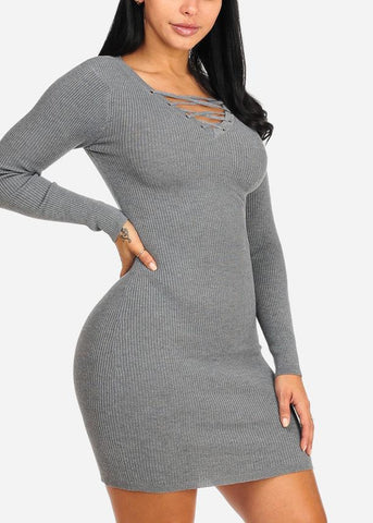 Grey Lace Up Mini Knitted Dress