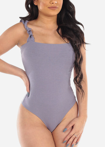 Image of Women's Junior Sexy Summer Beach Going Out Lavender Ribbed Stretchy Ruffle Sleeveless Bodysuit