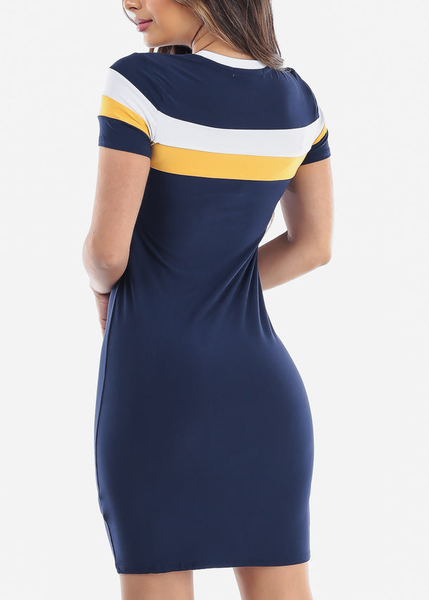 Multi Stripe Navy Bodycon Midi Dress