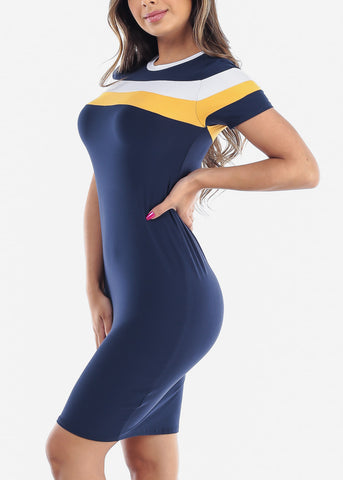 Image of Cute Sexy Stylish Tight Fit Navy Stripe Bodycon Midi Dress For Women Ladies Junior