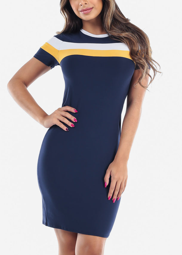 Cute Sexy Stylish Tight Fit Navy Stripe Bodycon Midi Dress For Women Ladies Junior