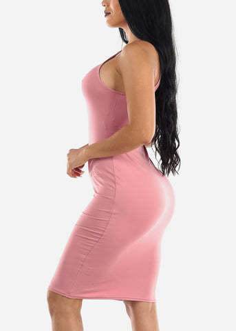 Sleeveless Casual Pink Bodycon Dress