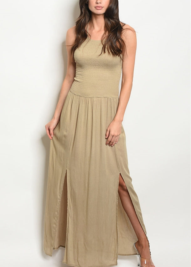 Halter Light Olive Maxi Dress