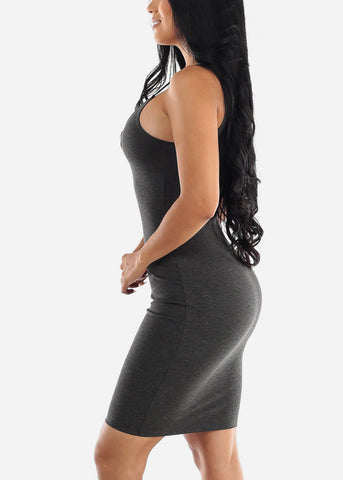 Image of Spaghetti Strap Charcoal Bodycon Dress