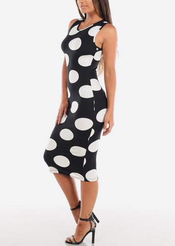 Image of Sleeveless Black Polka Dot Bodycon Midi Dress