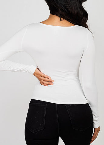 Image of Sweetheart Neck White Knot Top