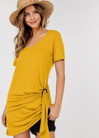 Buckle Detail Mustard Dress