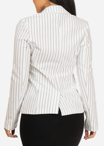 Classic White One Button Stripe Blazer