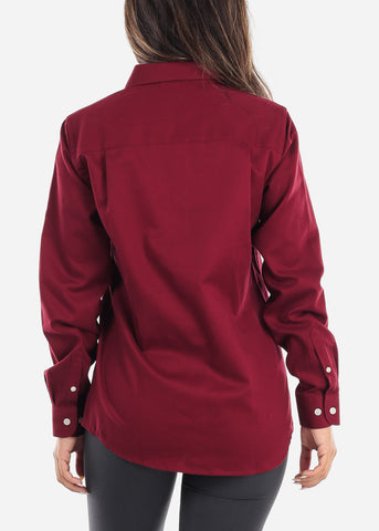 Image of Burgundy Teflon Button Down Shirt