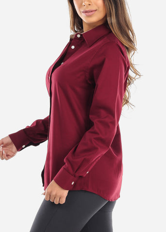 Burgundy Teflon Button Down Shirt