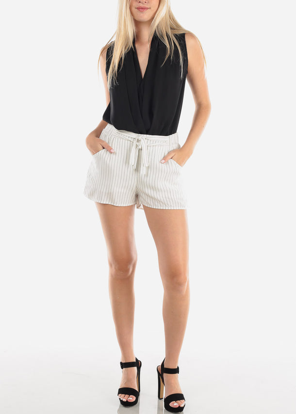 High Rise White Stripe Shorts