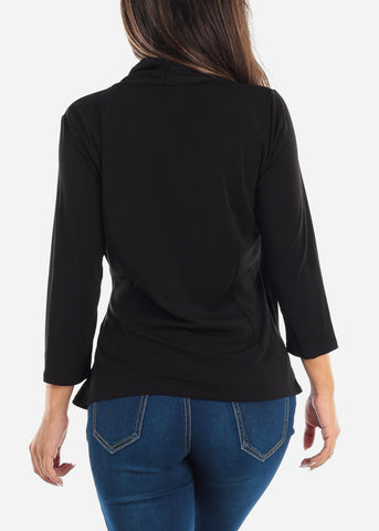 Image of Wrap Front Black Blouse