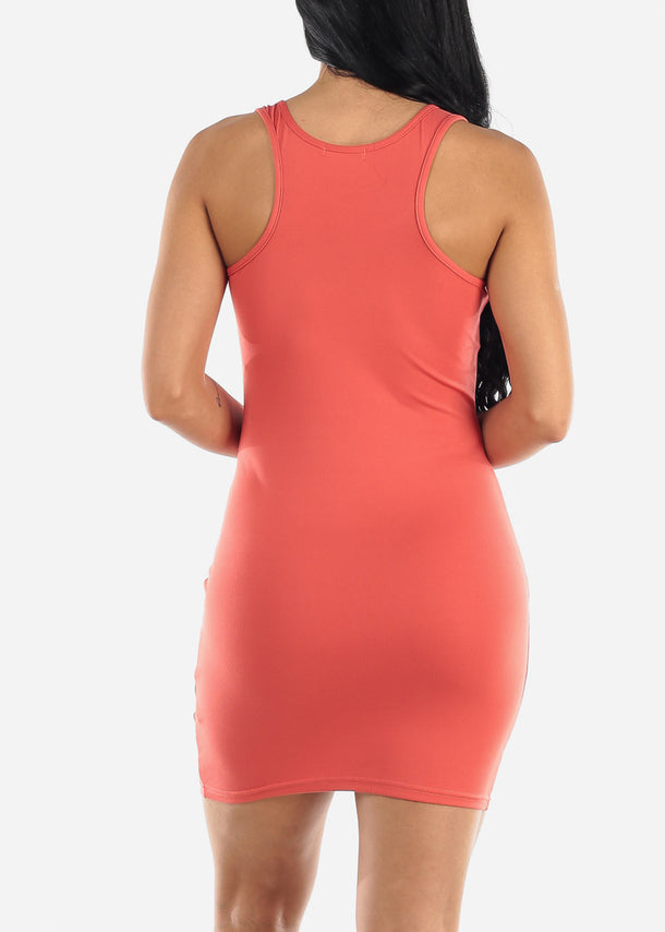 Dark Mauve Bodycon Racerback Dress