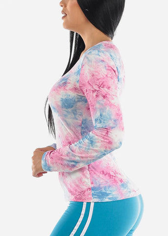 Image of Vneck Tie Dye Pink Top
